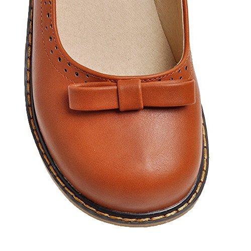 Allhqfashion Donna Pu Fibbia Solida Chiusa Punta Rotonda Senza Tacco Pompe-scarpe Darkbrown