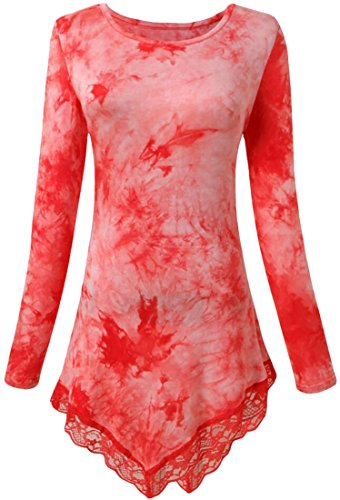 XQS Women Fashion Long Sleeve Lace Tie Dye Tunic Shirts Red L