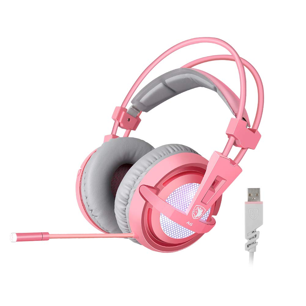 SUPSOO 7.1 Stereo Gaming Headset, Noise Cancelling Over Ear Gaming Headphones with Mic White LED Light, Bass Surround, Comfortable Memory Foam Ear Pads for Laptop PC – Pink