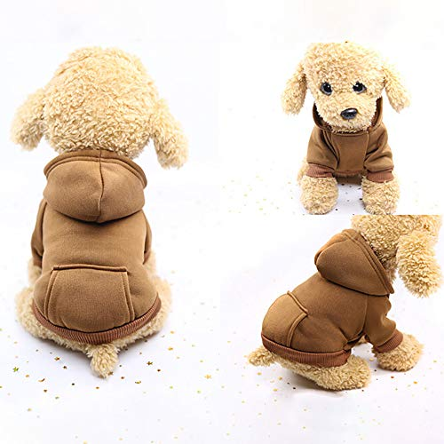 Hpapadks Pet Pocket Sweater,Pet Dog Solid Color with Pocket Sweater Polyester Hoodied Sweatshirts with Pocket Dog Clothes Pet Clothing