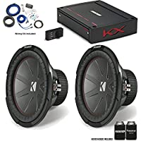 "Kicker 43CWR122 12"" CompR Subwoofers with 44KXA12001 KX-Series Amplifier and wire kit"
