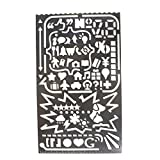 A.B Crew Multifunctional Stainless Steel Portable 60 Apertures Diary Drawing Number Alphabet Icon Stencil DIY Photo Album Tool