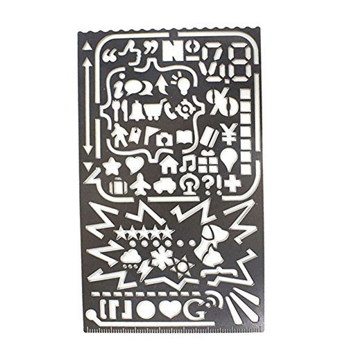 (A.B Crew Multifunctional Stainless Steel Portable 60 Apertures Diary Drawing Number Alphabet Icon Stencil DIY Photo Album Tool)