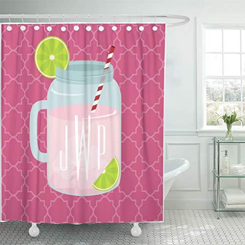 Semtomn Shower Curtain Southern Mason Jar of Pink Lemonade Summer Monogram Lime 66
