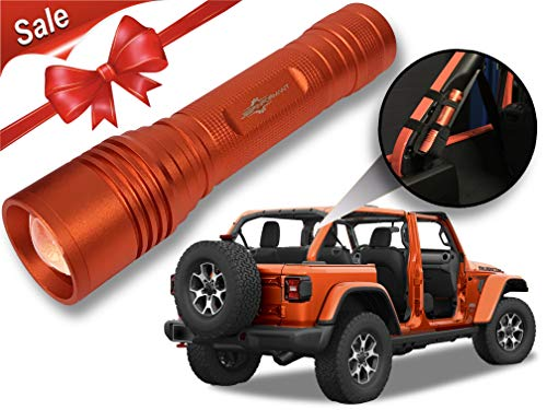 Punk'n LED Flashlight with Roll Bar Holster, Jeep JL Accessories, Zoomable, Ultra Bright, 1000 Real Lumens, Brightness Control, SOS and Strobe 2018 Jeep Wrangler JL ()
