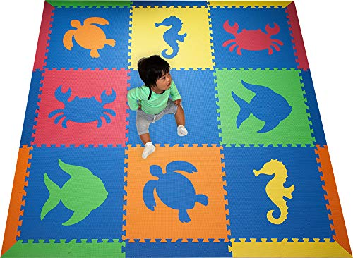SoftTiles- Kids Foam Playmat- Sea Animals- Interlocking Foam Mats for Children's Playrooms and Baby Nursery- Size 6.5 x 6.5 ft.- Blue, Red, Orange, Yellow, Lime (SCSEABROYL