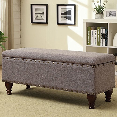 Functional Storage Bench, Traditional Style, Wood Frame with Espresso Finish, Simple and Elegant, Decorative Turned Legs, Bronze-Tone Nailhead Trim, Safety-Hinged Lid, Grey Chenille Fabric Upholstery