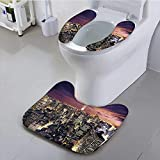 Toilet seat Cushion Collection Manhattan Offices High Tall Tower Traffic Busy Urban Life Windows Lights District Machine-Washable