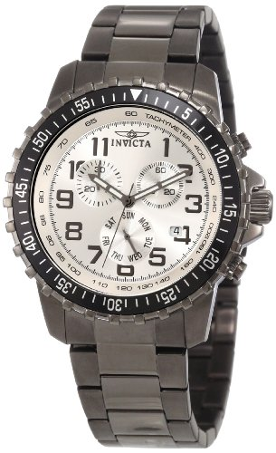 Invicta Men's 11370 Specialty Pilot Design Chronograph Silver Dial Gunmetal Stainless Steel ()