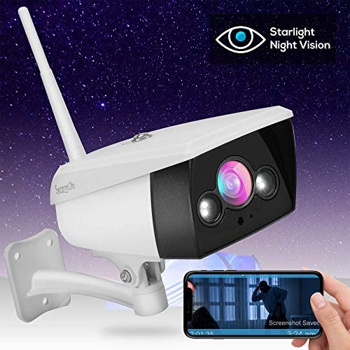 Starlight Night Vision Outdoor Camera – Alexa Compatible 2MP HD 1080p – Built in Speaker and Mic – Cloud Security Surveillance Camera w Internal SD Card Slot, IP66 Grade Waterproof Design