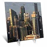 3dRose Danita Delimont - Cities - Singapore, elevated skyline view above Fullerton Hotel, dawn - 6x6 Desk Clock (dc_257279_1)