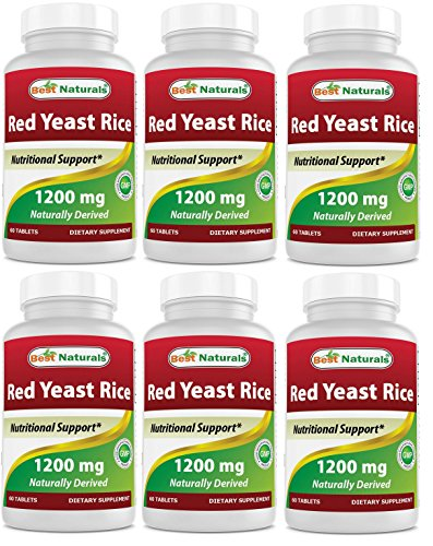 Best Naturals Red Yeast Rice 1200 Mg Tablet for Healthy Cholesterol Level, 60 Count Pack of 6