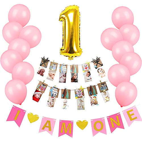 Baby Girl First Woodland Birthday Decorations Set-Pink Banner Sign,Owl Photo Banner,Balloons,Party Supplies and Favors for Toddler Cowgirl Puppy Dog Butterfly Ladybug Deer Themed -