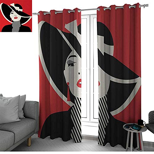- Benmo House Girls Curtains for Sliding Glass Door French Style Icon in Shabby Chic Classical Vintage Hat and Striped Coat Design Print Curtain Panels Red Black W120 x L96 Inch
