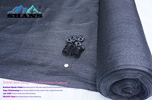 SHANS New Design 85% Heavy Black Shade Cloth 12ft x 50ft with 20 Pcs Clips Free