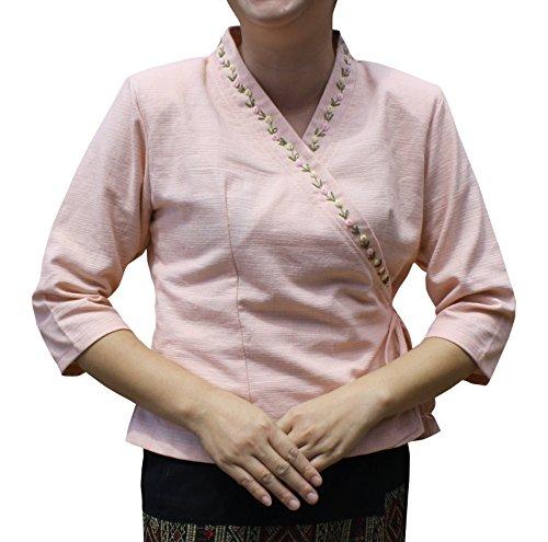 RaanPahMuang Thick Woven Cotton Ladies Cross Tie Traditional Thai Formal Shirt, X-Large, Salmon Pink ()