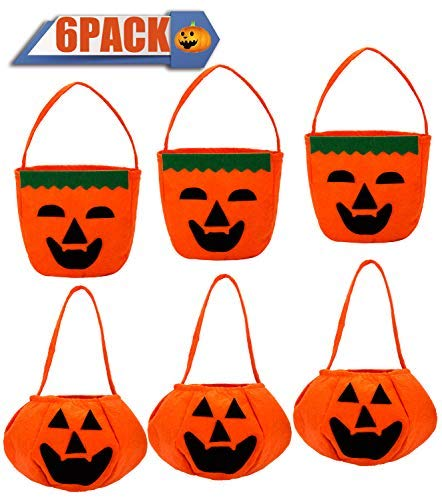 6 Pack Halloween Pumpkin Candy Bags Goody Bags for Halloween Treats Bags, Halloween Party Favors, Halloween Party Supplies