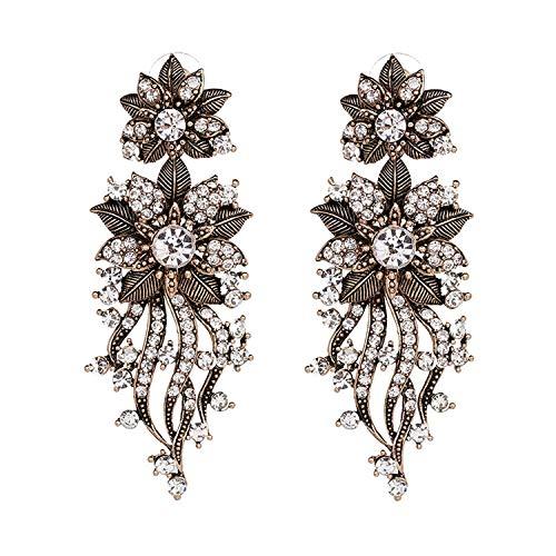 - brandtassel flower crystal push back stud Earrings shining lovely cool earring,gold