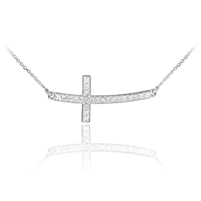 Amazon 14k white gold sideways diamond curved cross pendant 14k white gold sideways diamond curved cross pendant necklace 16 inches aloadofball Choice Image