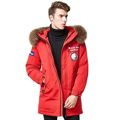 Deep Winter Parka - BOSIDENG Men's Harsh Deep Winter Goose Down Jacket Long Parka Big Real Fur Resist -30℃ Thicken Windbreak Waterproof Outerwear(180/96A Red)