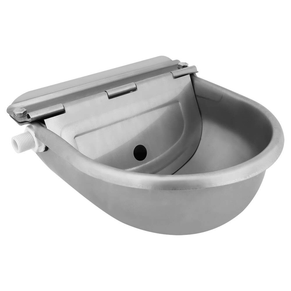 4L Stainless Steel Water Trough Bowl Automatic Drinking for Horses Goats Sheep Cattle Tool Accessory by Domino-bi