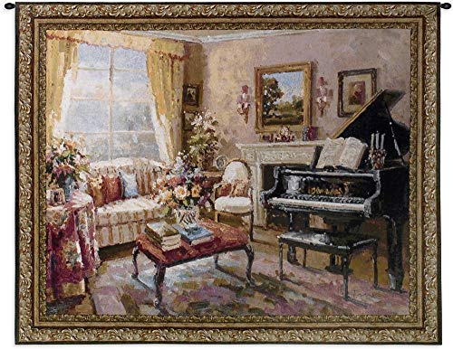 Pure Country Weavers Grande - Music Room by Foxwell | Woven Tapestry Wall Art Hanging | Baby Grand Piano in Decorative Living Room | 100% Cotton USA Size 53x44