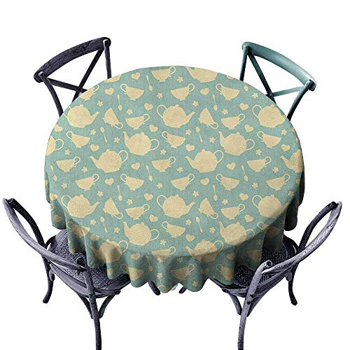 ScottDecor Printed Round Tablecloth Dinning Tabletop Decoration Tea,Tea Cup and Teapot Elements in Nostalgic British English Tradition Print, Pale Yellow Turquoise Diameter 36
