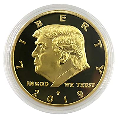 2019 President Donald Trump Coin, Gold Plated Commemorative Novelty Coins with Gift Box: Toys & Games
