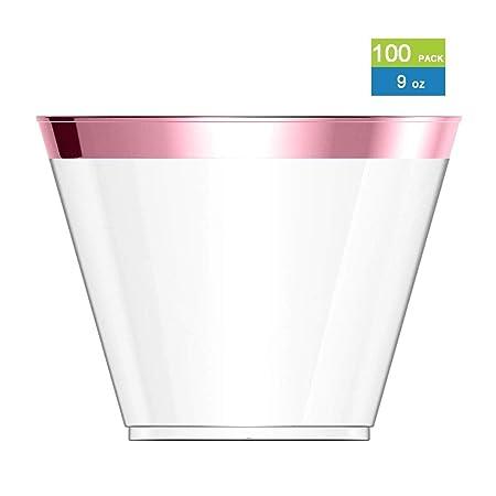 Vasos plástico Paquete de 100 9oz borde de oro claras vasos ...