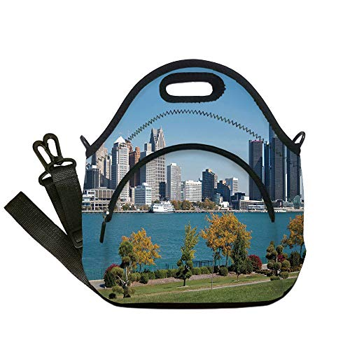 (Insulated Lunch Bag,Neoprene Lunch Tote Bags,Detroit Decor,Industrial City Center Shoreline River Scenic Panoramic View Sunny Day Decorative,Blue Green Silver,for Adults and children)