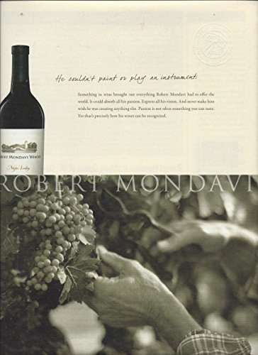 **PRINT AD** For Robert Mondavi Napa Valley Wine Grape Scene (Napa Valley Robert Mondavi)