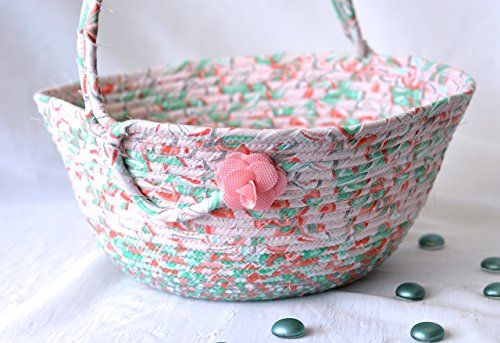 Easter Keepsake - Girl Easter Basket, Nursery Decor, Cute Easter Bucket Decoration, Handmade Peach Fabric Basket Artisan Coiled Handled Basket, Quilted