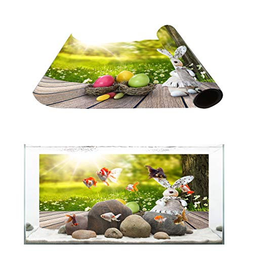 Fantasy Star Aquarium Background Sunshine Boardwalk Rabbit Easter Egg in The Park Fish Tank Wallpaper Easy to Apply and Remove PVC Sticker Pictures Poster Background Decoration 24.4