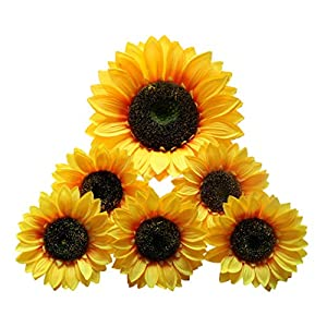 Artificial Sunflower Heads Silk Flower Faux Floral Yellow Gerber Daisies for Wedding Table Centerpieces Home Kitchen Wreath Hydrangea Cupcakes Topper Decorations(9.8″ big head1+5.9″ big head5))
