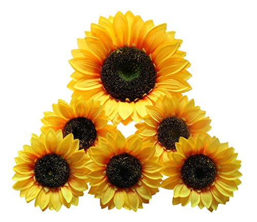 (Artificial Sunflower Heads Silk Flower Faux Floral Yellow Gerber Daisies for Wedding Table Centerpieces Home Kitchen Wreath Hydrangea Cupcakes Topper Decorations(9.8