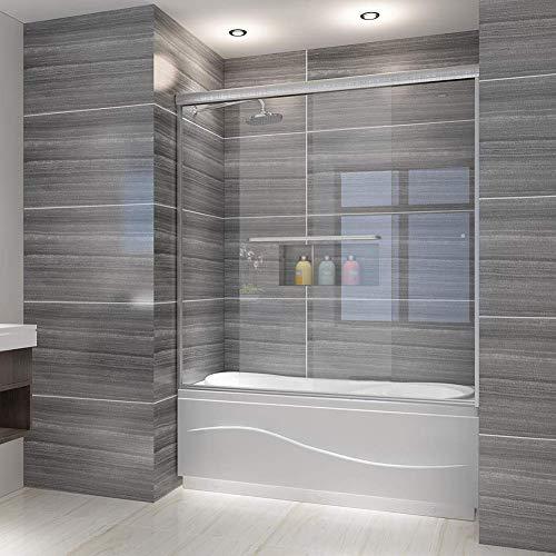 """Elegant 60"""" W x 62"""" H Framed Bathtub Sliding Shower Door 1/4"""" Clear Glass Tub Door Panel Shower Enclosure, Brushed Nickel Finish"""
