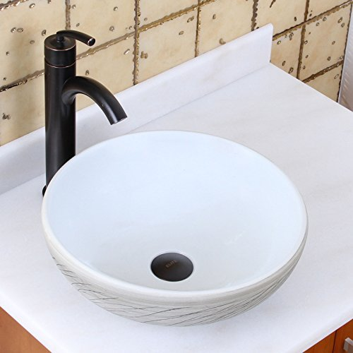 Willow Porcelain (ELITE Round White and Gray Willow Porcelain Ceramic Bathroom Vessel Sink & Oil Rubbed Bronze Single Lever Faucet Combo)