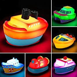 Bath Toys, 6 Packs Light up Boat Floating Rubber Set, Flashing Color Changing Light in Water, Tub Gift for Baby Infant…