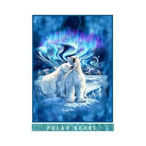 Artist Steven Michael Gardner Polar Bears Under Northern Lights Blanket Mink Plush Queen Size - Signature Collection - (One Size 79 x 95)