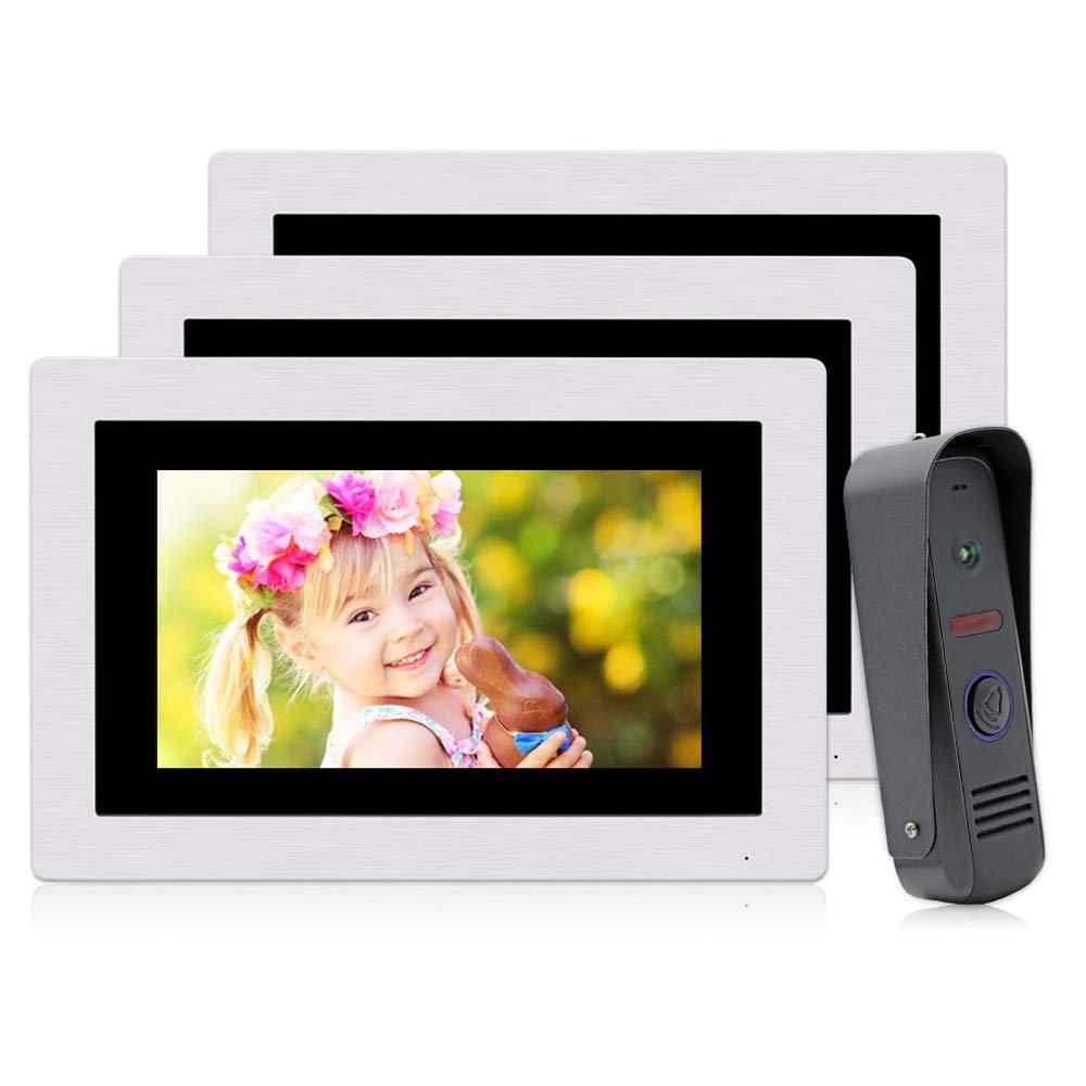 "JeaTone 7"" Ring Video Doorbell Intercom Door Phone 3 Monitors, Night Vision Camera Wide Angle IP65 Picture/Video Recording Support Monitoring, Unlock, Dual way Door Talking"