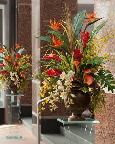 Amazon Com Petals Tropical Paradise Silk Flower Arrangement Handcrafted Amazingly Lifelike 46 X 36 Inches Home Kitchen