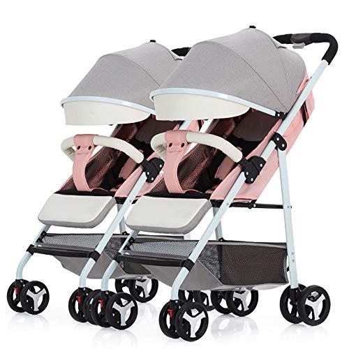 Foldable Double Stroller, Twin Tandem Baby Stroller with Adjustable Backrest, Side by Side Stroller W/Storage Basket Safety,Pink