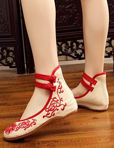 Ricamo da da e rosso Flats Ballo Espadrillas Nuove Scarpe da Moda Girocollo Traspiranti Confortevoli Canvas con Alla Scarpe Donna aHPUE