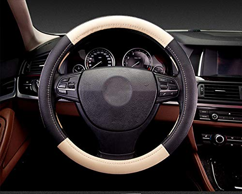 (Coofig Leather Hand Sewing Fashion, Breathable, Skidproof Car Steering Wheel Cover Universal 15inch (Beige, Hand Sewing))