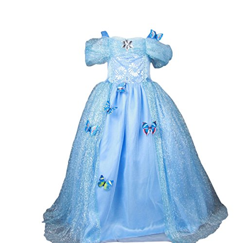 2t Cinderella Costume (iFigure Girl's Princess Costume Dress Blue Fancy Halloween Party Dresses)