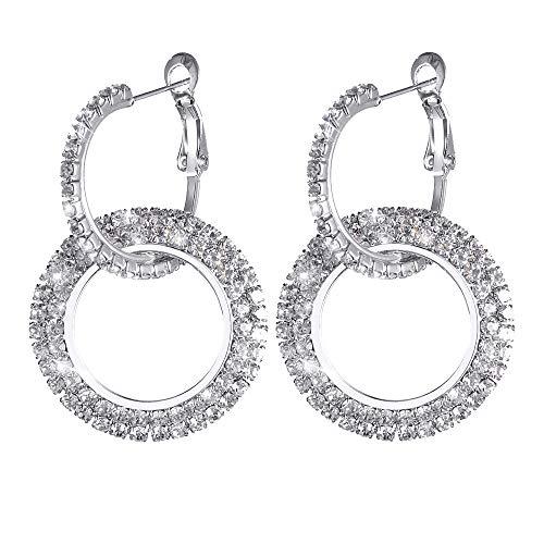 Round Diamond Earrings,Quaanti 2018 Luxury Earrings Women Silver Gold Rosegold Glitter Stud Round Shape Rhinestone Inlaid Tassel Beads (Silver) ()