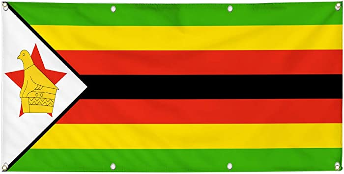 Vinyl Banner Sign Zimbabwe Flag Green Yellow Red Black Marketing Advertising Green Multiple Sizes Available 4 Grommets 28inx70in Set of 2