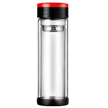 SMFW Doble Pared Botella de Agua de Vidrio 380ml,Botella de ...