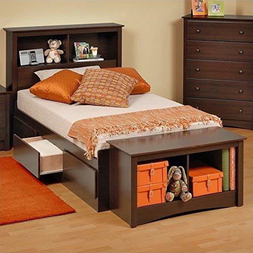 Prepac Manhattan Twin Bookcase Platform Storage Bed in ()