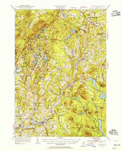 YellowMaps Plainfield VT topo map, 1:62500 Scale, 15 X 15 Minute, Historical, 1953, Updated 1954, 20.8 x 16.9 in - Paper -